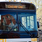 Free shuttle buses transport visitors to attractions citywide on Civil War & Emancipation Day.
