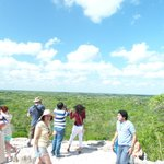 At the top of the Coba Temple