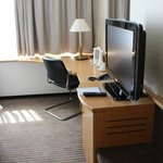 The television and desk space