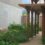 A beautiful view of our Heritage Garden outside the museum