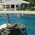 Getting from shore to our banca snorkel boat
