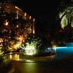nightime lighting around the pool