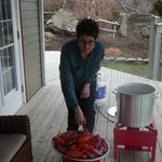 Joyce removing the cooked lobster