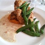 Buttermilk fried chicken with sweet potato and ham gravy