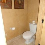 Water closet separate from the bathroom, helpful if you aren't traveling alone.