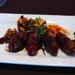 The bacon-wrapped dates appetizer - better than my picture!