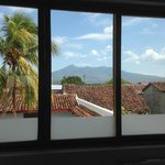 View of Volcan Mombacho from the bathroom