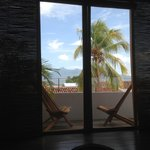 View of Volcan Mombacho and balcony from bed