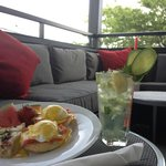 Eggs Benny with our signature Cucumber Collins