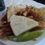 Sourdough BLT with fried green tomatoes.