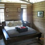 Room - bathroom and balcony to the left, nook with bunk beds to the right