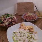 Tahitian ceviche, quinoa salad and cabbage... And a lot of love...