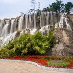 One of the man-made waterfall at the theme park