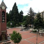 Park across the street with wonderful clock tower.