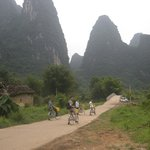 Shufen & family cycling at Yangshuo.