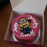 We had to write the Happy Birthday which did not come out too nice. They drew the minion perfect