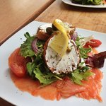 Salmon salad at the village cafe