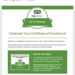 awarded certificate of excellence 2014