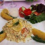 stuffed sea bass with creamy shrimp sauce