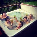 Vino in the hot tub
