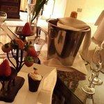 Frutillaa con chocolate y champagne!
