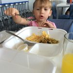 She absolutely loved the eggs and mango juice!