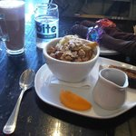 Cafe latte with amazing Baked French Toast