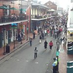 a restaurant a block away from my room on bourbon - you can see crowd further down on  busier si