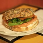 Smoked salmon with cream cheese poppyseed bagel