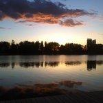 vue depuis la terrasse au coucher du soleil