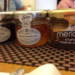 Cute breakfast condiments.. Makes you smile in the morning..