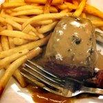 Rare, tender Steake Hache, sauce Poivre vert and frites