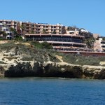 view off hotel from sea (boat trip to caves)