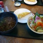 Combination special: soba noodles, shrimp tempura, chirashi