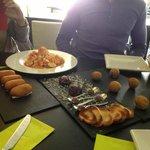 Patatas bravas, spinach and iberico jam croquettes, Pate Planet