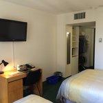 TV, desk and closet