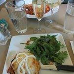 Crab Stuffed Portobello w/ cheese & Glass of champagne