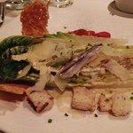 Caesar salad, delicate anchovy flavor