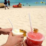 Enjoying a drink on the beautiful beach!