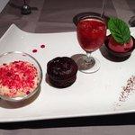 Menu 32€-Dessert : délice de chocolat et fruits rouge