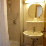 The bathroom with toilet and shower