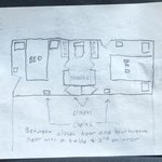 Hand drawing of double queen cabin room layout