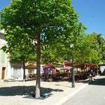 Outside tables in le Place du Marche