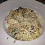 Yummy pasta with garlic cream sauce.