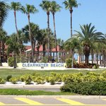 sign welcoming you to Clearwater Beach by the pier