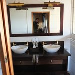 Brass fixtures and double sinks