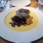 Locus  fish (Grouper) fillet and mushrooms in corn cream