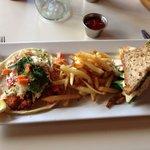 Crunchy fish tacos and turkey sandwich