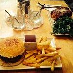 Vegetarian burger and lasagne ��