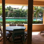 Large balcony of H-102, next to marina. Has shower, chaises, table